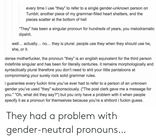 "Shit, Tumblr, and Guess: every time I use ""they"" to refer to a single gender-unknown person on  Tumblr, another piece of my grammar-filled heart shatters, and the  pieces scatter at the bottom of hel  They"" has been a singular pronoun for hundreds of years, you melodramatic  dipshit.  well. actually... no... they is plural. people use they when they should use he,  she, or it.  dense motherfucker, the pronoun ""they"" is an english equivalent for the third person  indefinite singular and has been for literally centuries. it remains morphologically and  syntactically plural therefore you don't need to shit your little pantaloons at  compromising your surely rock solid grammar rules.  i guarantee every fuckin time you've ever had to refer to a person of an unknown  gender you've used ""they"" subconsciously. (The post clerk gave me a message for  you."" ""Oh, what did they say?"") but you only have a problem with it when people  specify it as a pronoun for themselves because you're a shitlord i fuckin guess. They had a problem with gender-neutral pronouns…"