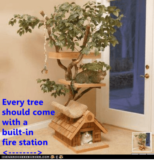 Fire, Tree, and Com: Every tree  should come  with a  built-in  fire station  IGANHAS CHEEZBURGER, COM 후 류。