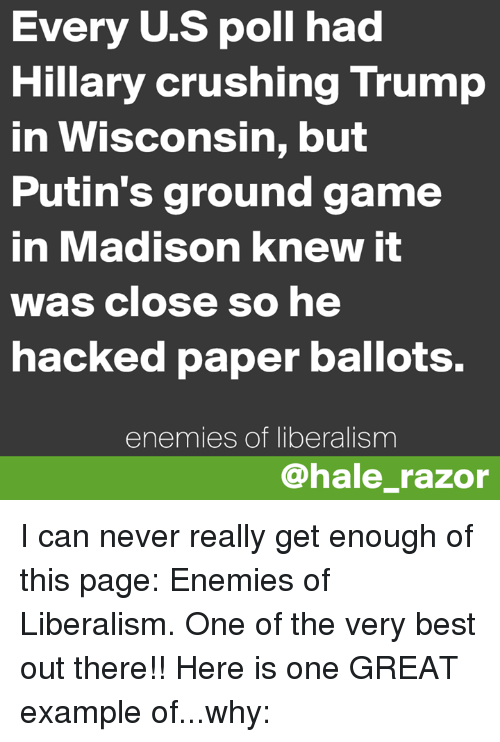 Going To Polls In Madison Felt Like >> Every Us Poll Had Hillary Crushing Trump In Wisconsin But Putin S