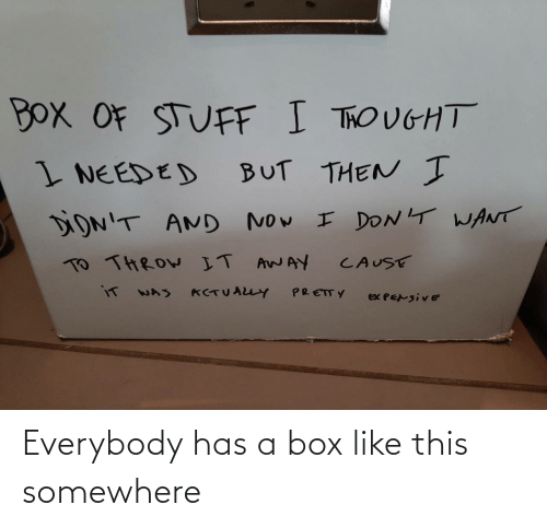 Box, Somewhere, and This: Everybody has a box like this somewhere