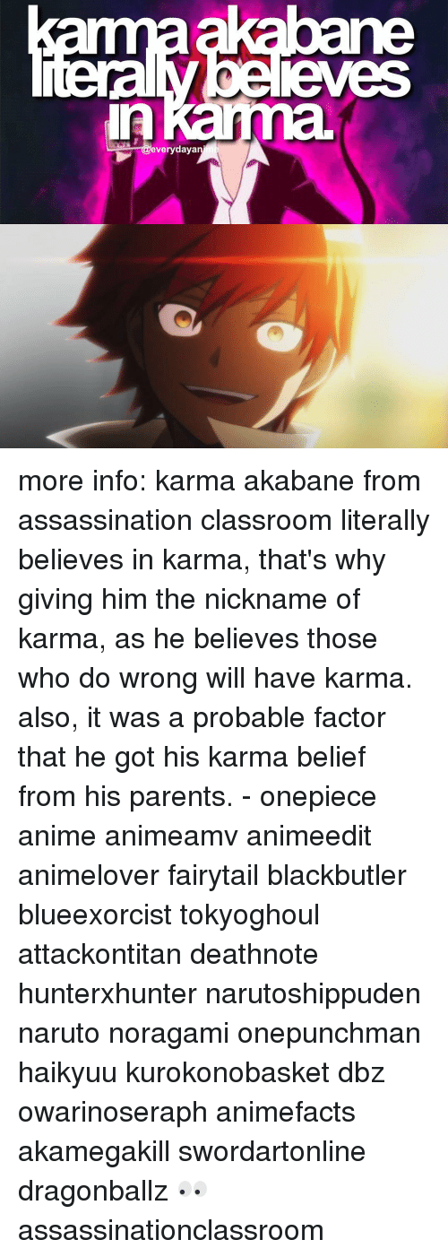 Animals Anime And Assassination Everyday A More Info Karma Akabane From