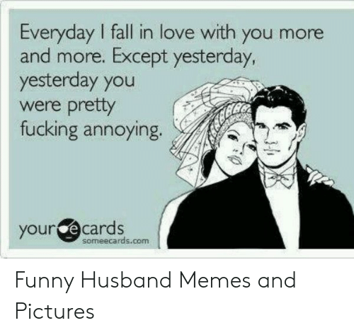 Fall, Fucking, and Funny: Everyday I fall in love with you more  and more. Except yesterday,  yesterday you  were prety  fucking annoying.  your e cards  someecards.com Funny Husband Memes and Pictures