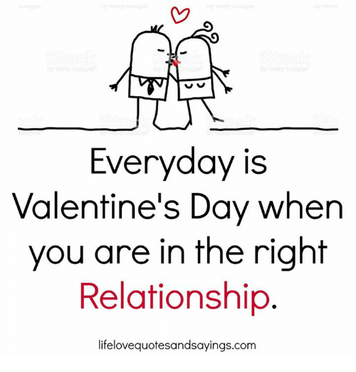 Valentine's Day, Com, and Day: Everyday is  Valentine's Day when  you are in the right  Relationship  lifelovequotesandsayings.com