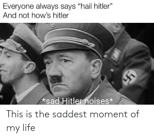 "Life, Dank Memes, and Sad: Everyone always says ""hail hitler""  And not how's hitler  *sad Hitler noises* This is the saddest moment of my life"