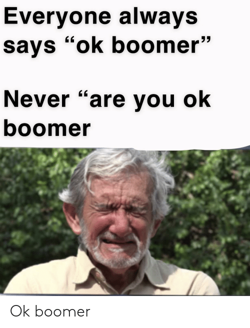 """Never, You, and Boomer: Everyone always  says """"ok boomer""""  Never """"are you ok  boomer Ok boomer"""
