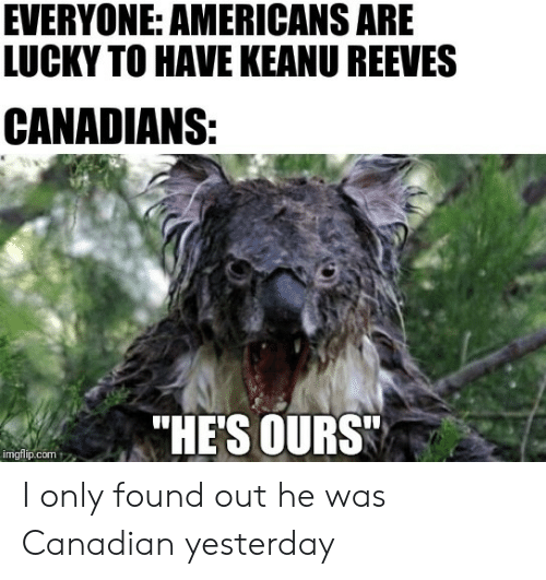 "Canadian, Keanu Reeves, and Com: EVERYONE: AMERICANS ARE  LUCKY TO HAVE KEANU REEVES  CANADIANS:  ""HE'S OURS  imgflip.com I only found out he was Canadian yesterday"