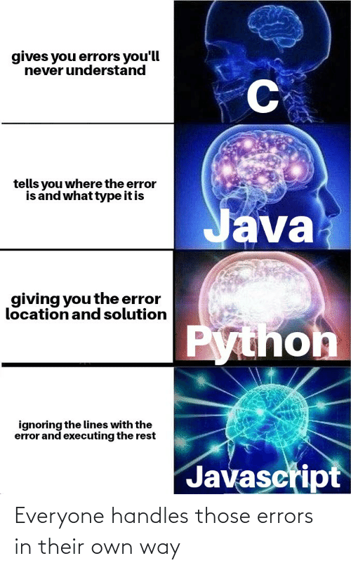 Own, Everyone, and Those: Everyone handles those errors in their own way