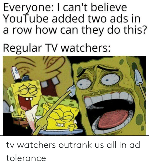 Everyone I Can't Believe YouTube Added Two Ads in a Row How