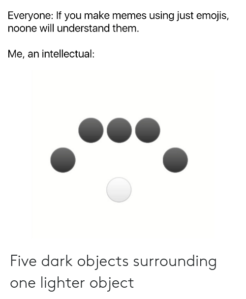 Memes, Emojis, and Dank Memes: Everyone: If you make memes using just emojis,  noone will understand them.  Me, an intellectual: Five dark objects surrounding one lighter object