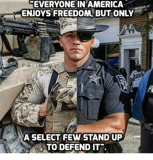 America, Memes, and Freedom: EVERYONE IN AMERICA  ENJOYS FREEDOM, BUT ONLY  A SELECT FEW STAND UP  TO DEFEND IT.