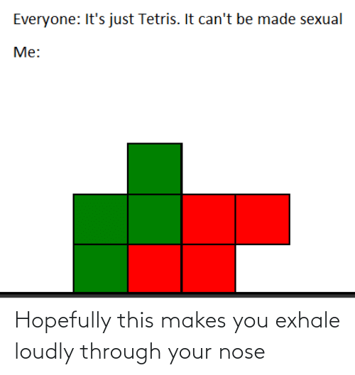 Tetris, You, and Made: Everyone: It's just Tetris. It can't be made sexual  Me: Hopefully this makes you exhale loudly through your nose