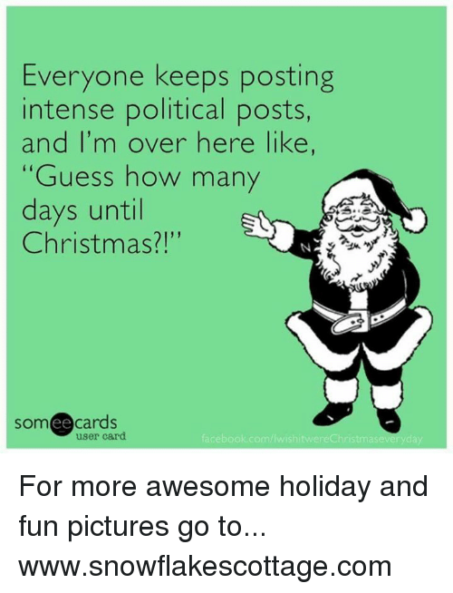 How Many Days Until Christmas Meme.Everyone Keeps Posting Intense Political Posts And I M Over