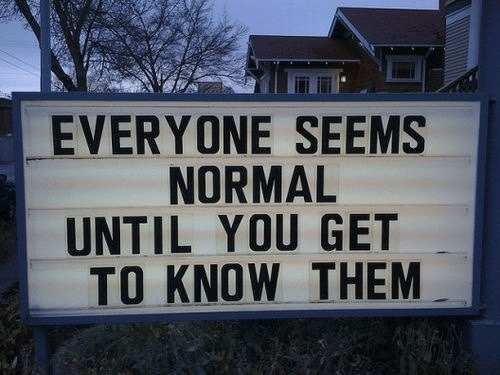Them, You, and Normal: EVERYONE SEEMS  NORMAL  UNTIL YOU GET  TO KNOW THEM