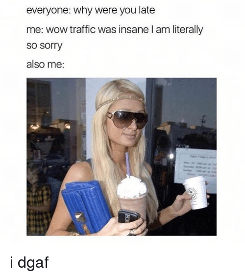 Sorry, Traffic, and Wow: everyone: why were you late  me: wow traffic was insane l am literally  so sorry  also me: i dgaf