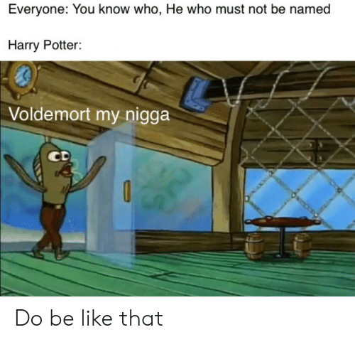 Be Like, Harry Potter, and Potter: Everyone: You know who, He who must not be named  Harry Potter:  Voldemort my nigga  CD Do be like that