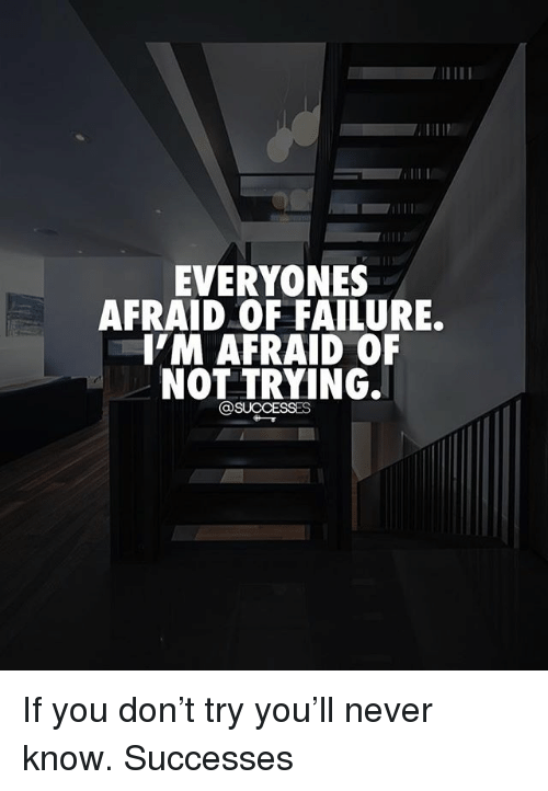 Memes, Failure, and Never: EVERYONES  AFRAID OF FAILURE.  'M AFRAID OF  NOT TRYING.  @SUCCESSES If you don't try you'll never know. Successes
