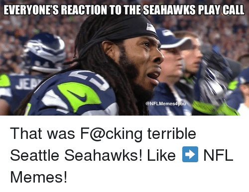 Meme, Memes, and Nfl: EVERYONE'S REACTION TO THE SEAHAWKS PLAY CALL  NFL Memes4vou That was F@cking terrible Seattle Seahawks!  Like ➡️ NFL Memes!