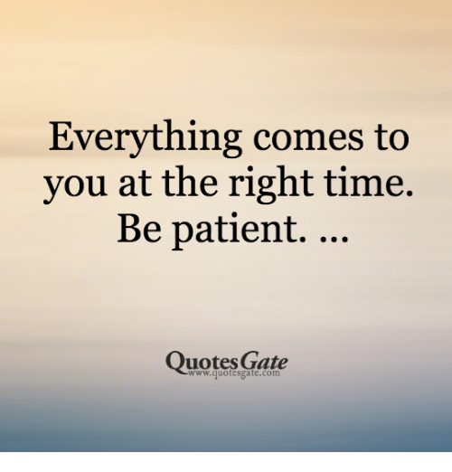 Everything Comes To You At The Right Time Be Patient Quotes Gate
