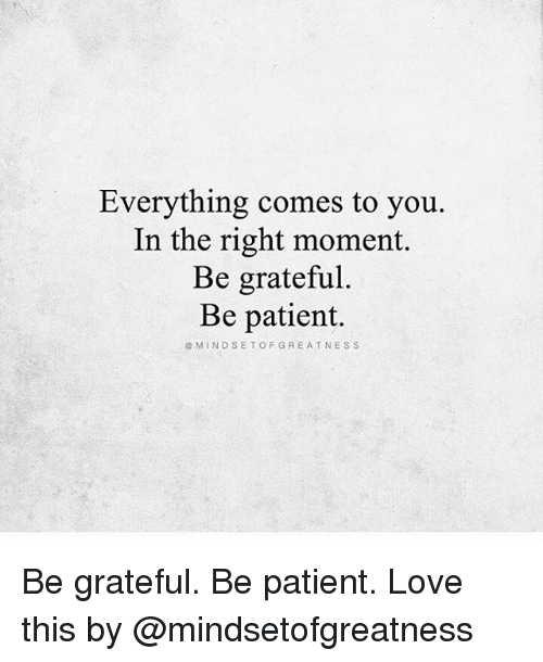 Love, Memes, and Patient: Everything comes to you.  In the right moment.  Be grateful.  Be patient.  @MINDSETOFGREATNESS Be grateful. Be patient. Love this by @mindsetofgreatness