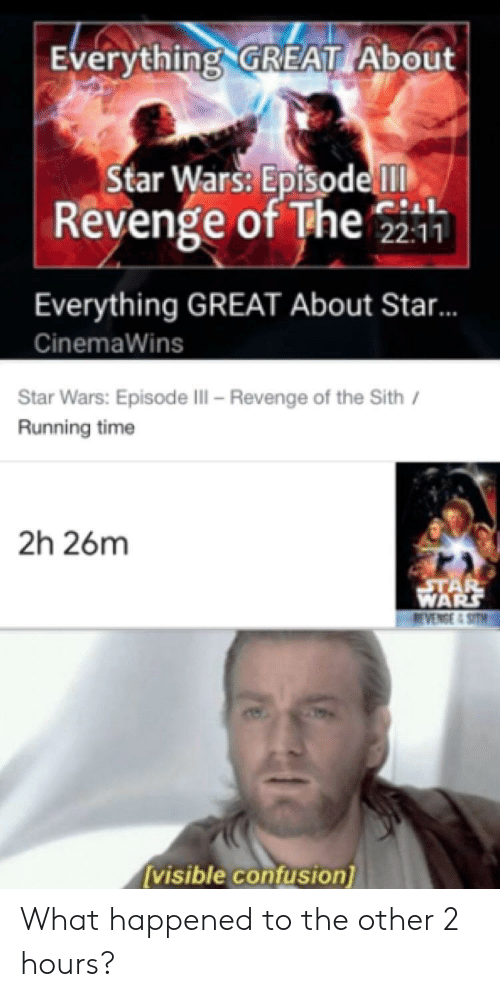 Revenge, Sith, and Star Wars: Everything GREAT About  Star Wars: EpisodelT  Revenge of The  22:11  Everything GREAT About Star..  CinemaWins  Star Wars: Episode III - Revenge of the Sith  Running time  2h 26m  ETAR  WARS  REVENGE 4 SITHI  [visible confusion] What happened to the other 2 hours?