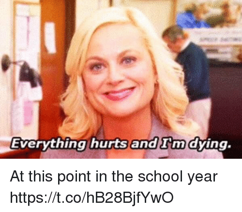 School, Girl Memes, and Hurts: Everything hurts and rmdying. At this point in the school year https://t.co/hB28BjfYwO