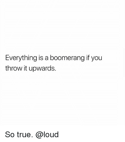 Memes, True, and 🤖: Everything is a boomerang if you  throw it upwards. So true. @loud