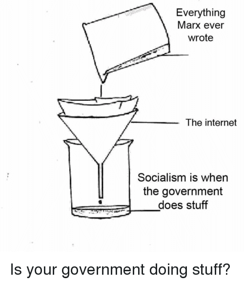 Internet, Socialism, and Stuff: Everything  Marx ever  wrote  ui  The internet  Socialism is when  the government  -does stuff Is your government doing stuff?