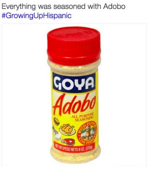 Everything Was Seasoned With Adobo Growing Uphispanic Gova All Pur Pesoneto802 22g Meme On Me Me