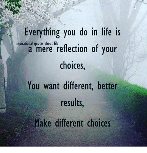 Everything You Do In Life Is A Mere Reflection Of Your Choices You