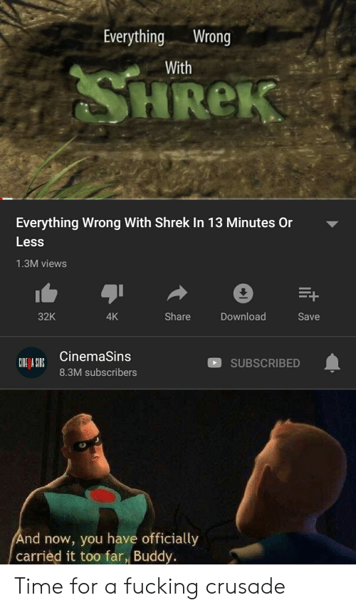 Fucking, Shrek, and Time: EverythingWrong  With  HReK  Everything Wrong With Shrek In 13 Minutes Or  Less  1.3M views  Download  32K  Share  4K  Save  CinemaSins  SUBSCRIBED  8.3M subscribers  nd now, you have officially  carried it too far, Buddy. Time for a fucking crusade