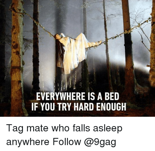 9gag, Memes, and 🤖: EVERYWHERE IS A BED  IF YOU TRY HARD ENOUGH Tag mate who falls asleep anywhere Follow @9gag
