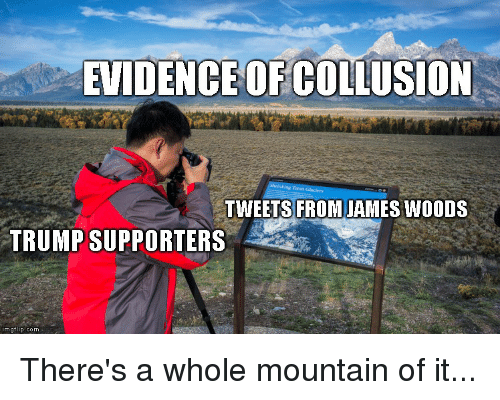 Politics, Trump, and James Woods: EVIDENCE OF COLUSION  TWEETS FROM JAMES WOODS  TRUMP SUPPORTERS  imgflip.com