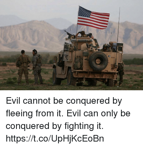 Memes, Evil, and 🤖: Evil cannot be conquered by fleeing from it. Evil can only be conquered by fighting it. https://t.co/UpHjKcEoBn