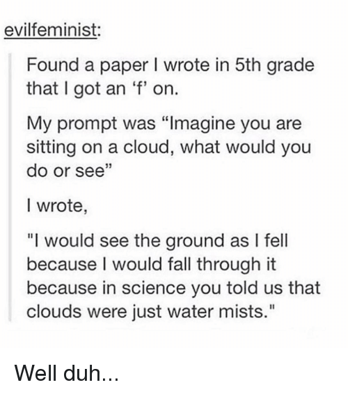 """Fall, Memes, and Cloud: evilfeminist:  Found a paper I wrote in 5th grade  that I got an 'f' on  My prompt was """"Imagine you are  sitting on a cloud, what would you  do or see""""  I wrote  """"I would see the ground as I fell  because I would fall through it  because in science you told us that  clouds were just water mists."""" Well duh..."""