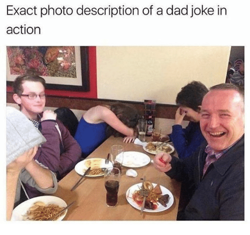 Dad, Dank, and 🤖: Exact photo description of a dad joke in  action