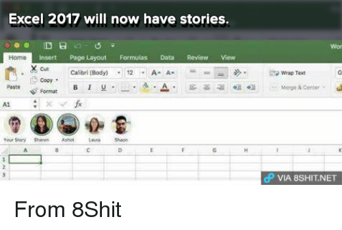 excel 2017 will now have stories insort page layout formulas data rh me me