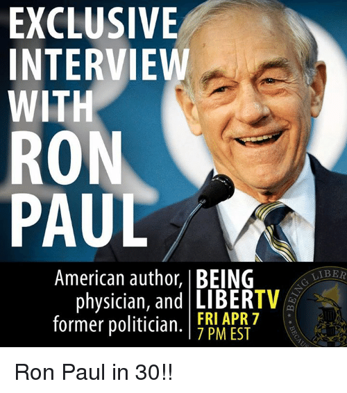 exclusive interview with ron paul american author being tv physician