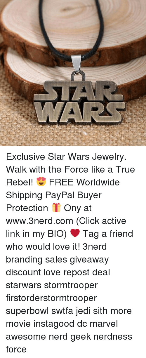 Memes, 🤖, and Linked In: Exclusive Star Wars Jewelry. Walk with the Force like a True Rebel! 😍 FREE Worldwide Shipping PayPal Buyer Protection 🎁 Ony at www.3nerd.com (Click active link in my BIO) ❤ Tag a friend who would love it! 3nerd branding sales giveaway discount love repost deal starwars stormtrooper firstorderstormtrooper superbowl swtfa jedi sith more movie instagood dc marvel awesome nerd geek nerdness force