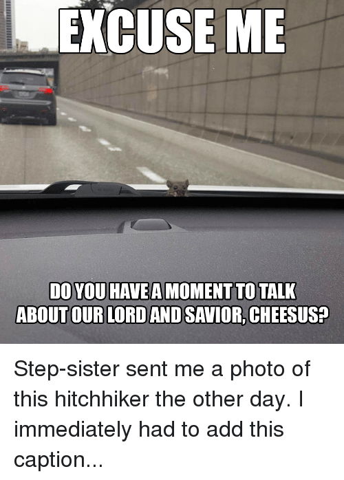 Funny, Add, and Sisters: EXCUSE ME  DO YOU HAVE A MOMENT TO TALK  ABOUT OUR LORD AND SAVIOR, CHEESUS? Step-sister sent me a photo of this hitchhiker the other day. I immediately had to add this caption...