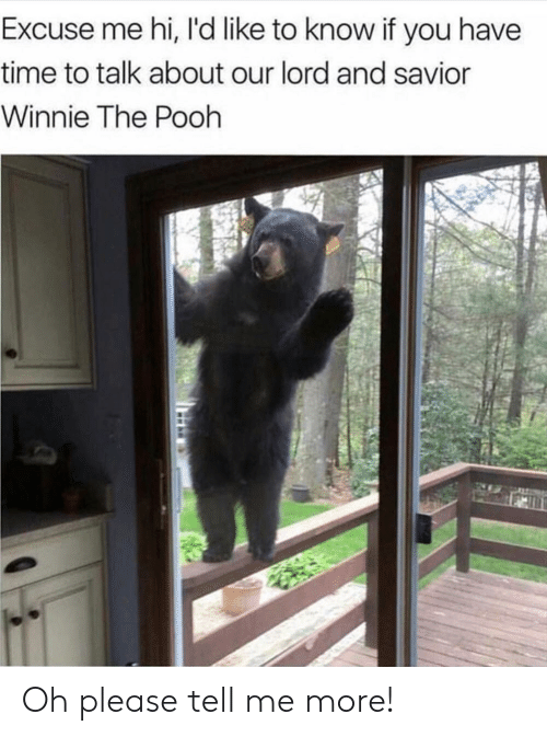 Winnie the Pooh, Time, and Lord: Excuse me hi, I'd like to know if you have  time to talk about our lord and savior  Winnie The Pooh Oh please tell me more!