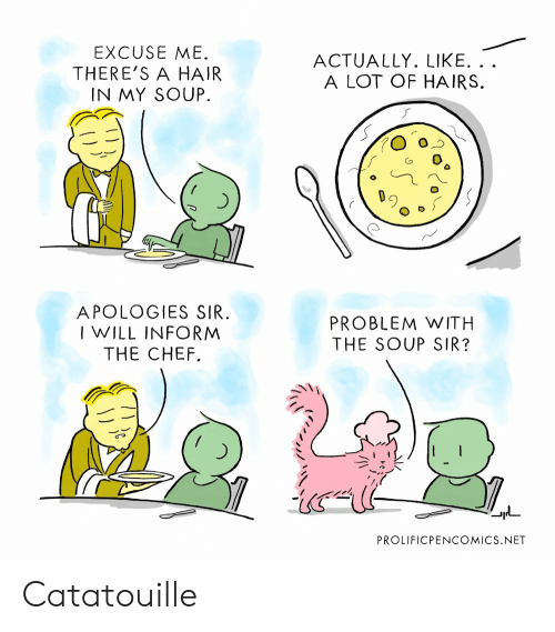 Chef, Hair, and Net: EXCUSE ME.  THERE'S A HAIR  IN MY SOUP  ACTUALLY. LIKE. ..  A LOT OF HAIRS.  O-つ  厂  APOLOGIES SIR  I WILL INFORM  THE CHEF.  PROBLEM WITH  THE SOUP SIR?  PROLIFICPENCOMICS.NET Catatouille