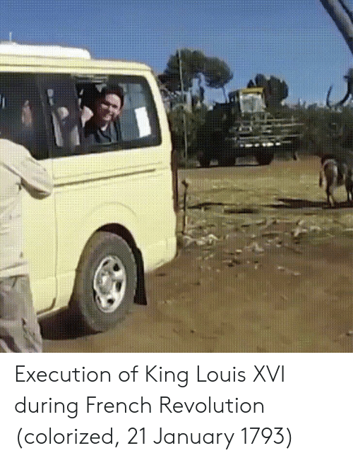 Revolution, French, and French Revolution: Execution of King Louis XVI during French Revolution (colorized, 21 January 1793)