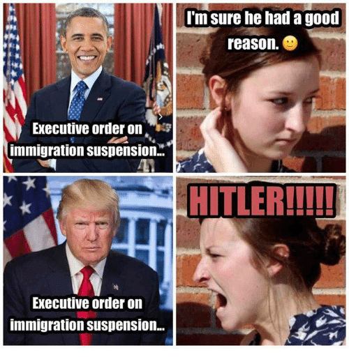 Memes, 🤖, and Executive Order: Executive order on  immigration Suspension..  Executive order on  immigration Suspension...  I'm sure he had a good  reason.  HITLER!!!!!