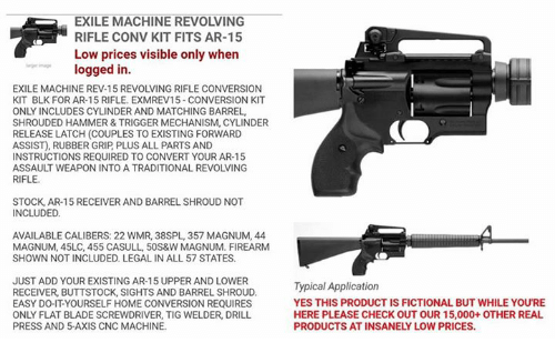 Exile machine revolving rifle conv kit fits ar 15 low prices visible blade memes and fictional exile machine revolving rifle conv kit fits ar solutioingenieria Choice Image
