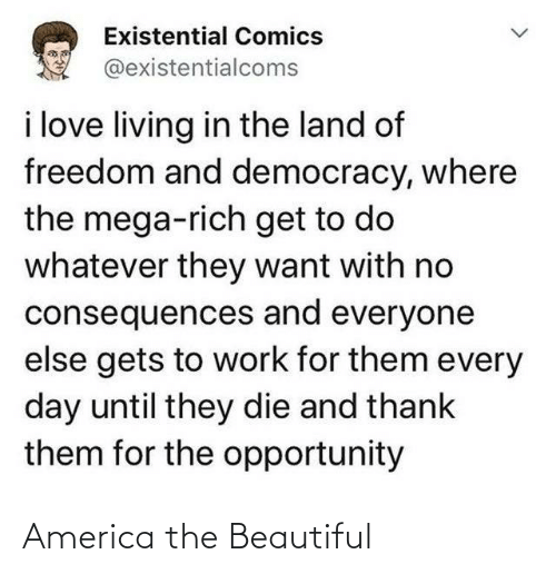 America, Beautiful, and Love: Existential Comics  @existentialcoms  i love living in the land of  freedom and democracy, where  the mega-rich get to do  whatever they want with no  consequences and everyone  else gets to work for them every  day until they die and thank  them for the opportunity America the Beautiful