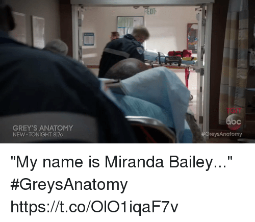 "Memes, Grey's Anatomy, and 🤖: EXIT  TGIT  oc  GreysAnatomy  GREY'S ANATOMY  NEW TONIGHT 8 7c ""My name is Miranda Bailey..."" #GreysAnatomy  https://t.co/OlO1iqaF7v"