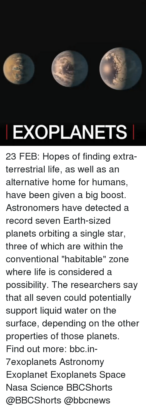 """Memes, Nasa, and Boost: EXO PLANETS 23 FEB: Hopes of finding extra-terrestrial life, as well as an alternative home for humans, have been given a big boost. Astronomers have detected a record seven Earth-sized planets orbiting a single star, three of which are within the conventional """"habitable"""" zone where life is considered a possibility. The researchers say that all seven could potentially support liquid water on the surface, depending on the other properties of those planets. Find out more: bbc.in-7exoplanets Astronomy Exoplanet Exoplanets Space Nasa Science BBCShorts @BBCShorts @bbcnews"""