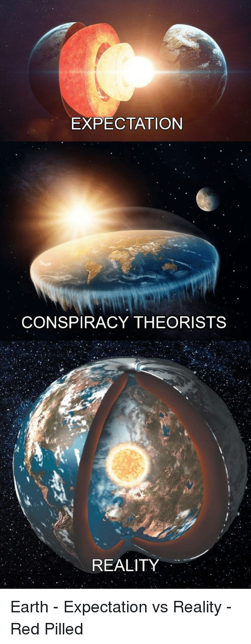 EXPECTATION CONSPIRACY THEORISTS REALITY Earth - Expectation vs