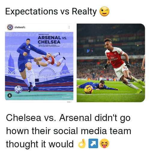 Arsenal, Chelsea, and Memes: Expectations vs Realty  chelseafc  PREMIER LEAGUE  ARSENAL vs.  CHELSEA  EMIRATES STADIUM, LONDON,  SAT 19 JAN 2019, 17.30 UK KICK-OFF  Elv  td  10  ChelseaFC Chelsea vs. Arsenal didn't go hown their social media team thought it would 👌↗️😝