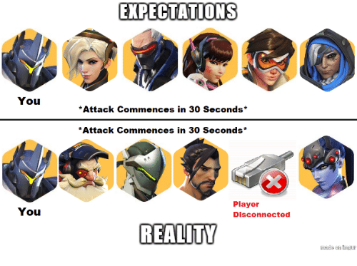 Reality, Player, and You: EXPECTATIONS  You  *Attack Commences in 30 Seconds*  Attack Commences in 30 Seconds*  You  Player  Disconnected  REALITY